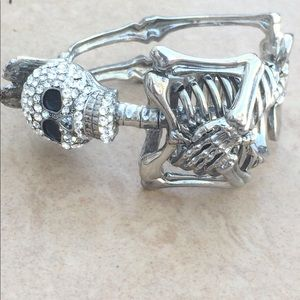 Jewelry - Silver Tone Crystal Skeleton Crystal Bangle